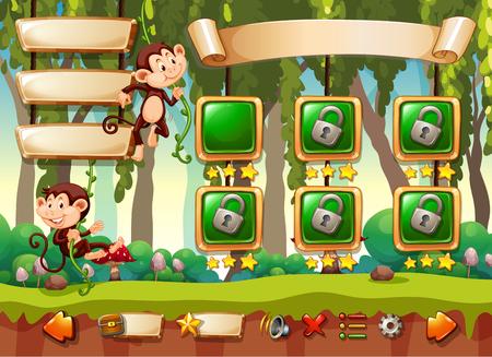 Jungle monkey game template illustration Ilustracje wektorowe
