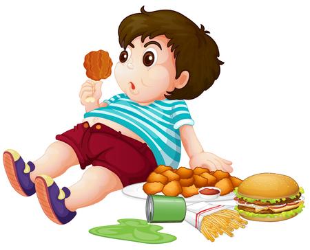 Fat boy eating junkfood illustration Vektoros illusztráció