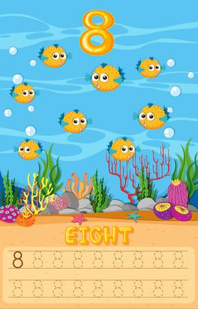 Eight pufferfish in math worksheet illustration Vectores