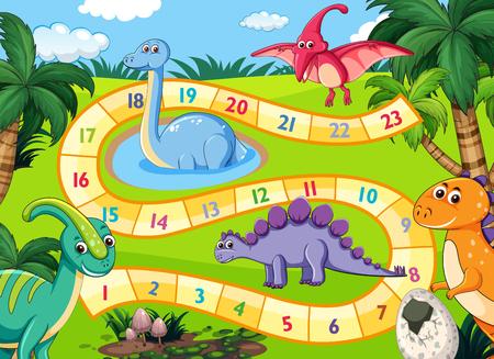 Illustrazione della scena del gioco da tavolo dei dinosauri preistorici