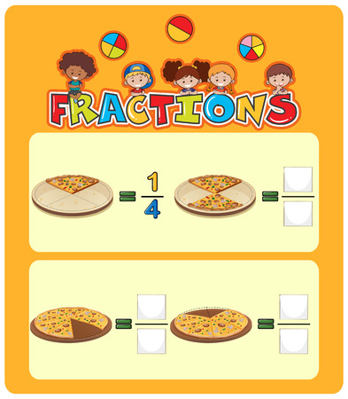 Pizza fractions math worksheet illustration