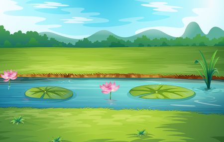 Beautiful nature river landscape illustration Ilustração