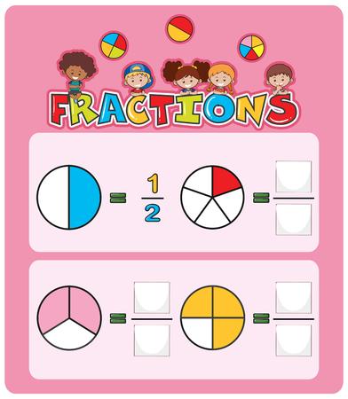 Math fractions worksheet template illustration