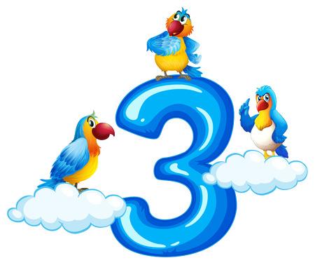 Three parrot on number three illustration