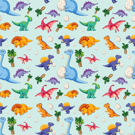 Dinosaur on seamless pattern illustration