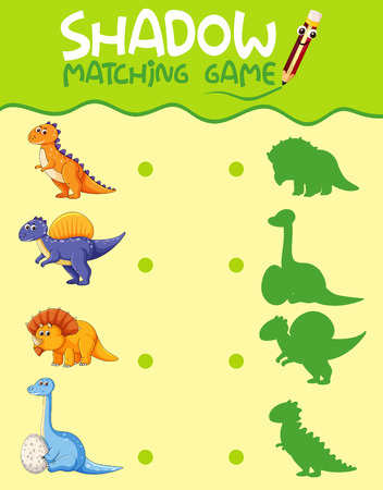 Dinosaur matching shadow game template illustration