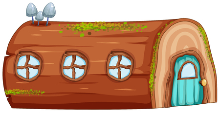 A log house on white background illustration Stok Fotoğraf - 111183537
