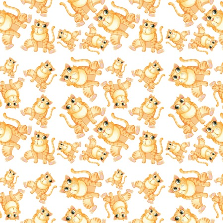 Yellow cat seamless pattern illustration