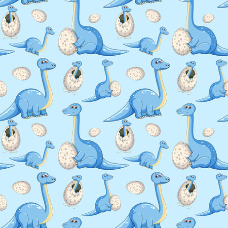 Blue dinosaur seamless background illustration