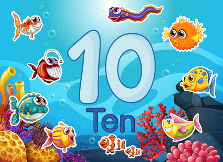 Ten diffrent underwater fish illustration