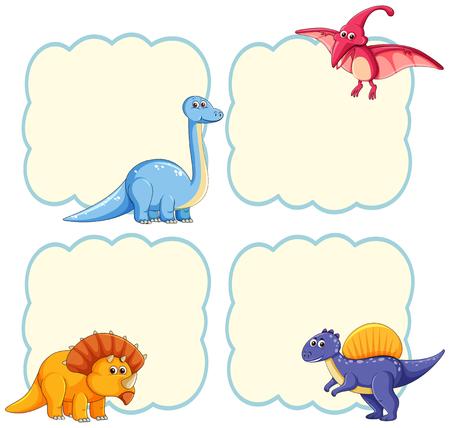 Cute dinosaur frame template illustration