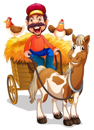 A farmer riding horse cart illustration