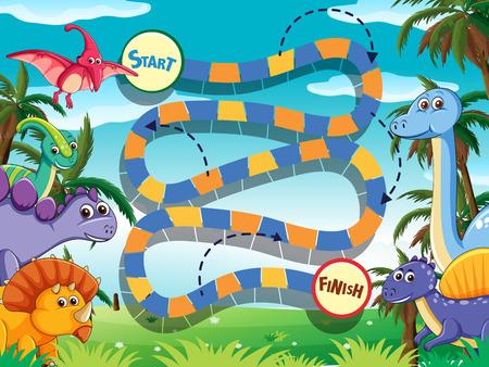 Dino board game template illustration Illustration