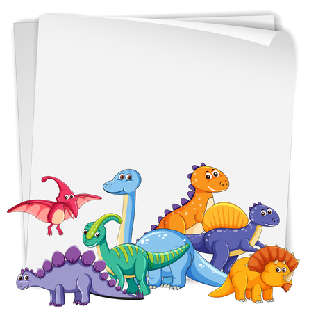 Dinosaur on blank paper illustration