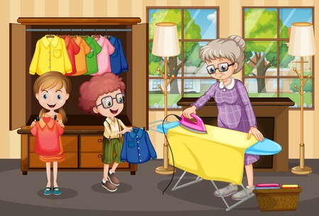 Grandmother ironing clothes for children illustration