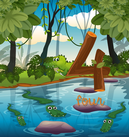 Four crocodile in the pond illustration