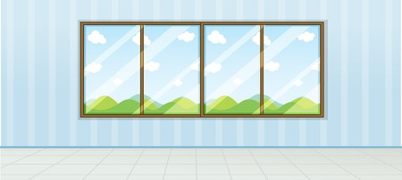 Empty room nature view illustration