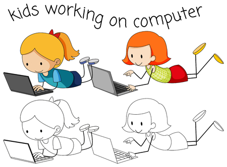 Girls using computer on white background illustration