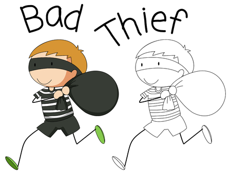 Doodle bad thief character illustration