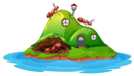 Ant hill house on white background illustration