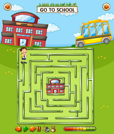 School maze game template illustration  イラスト・ベクター素材