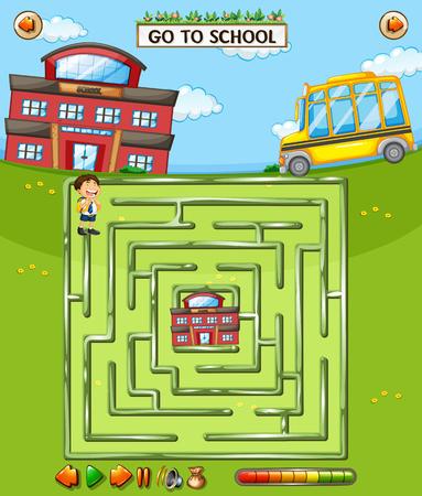 School maze game template illustration Illustration