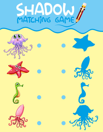 Sea creature shadow matching game template illustration  イラスト・ベクター素材