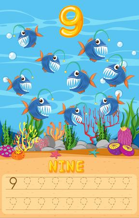 Counting fish math worksheet illustration Illustration
