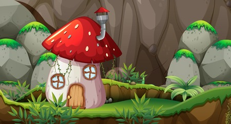 Mushroom house in nature illustration Illustration