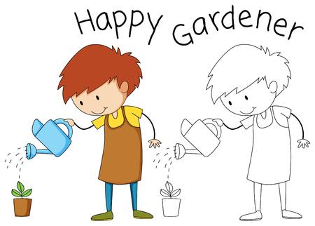 Junge, der eine Pflanzenillustration gießt Vektorgrafik
