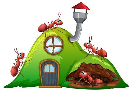 Mierenheuvelhuis op witte illustratie als achtergrond Vector Illustratie