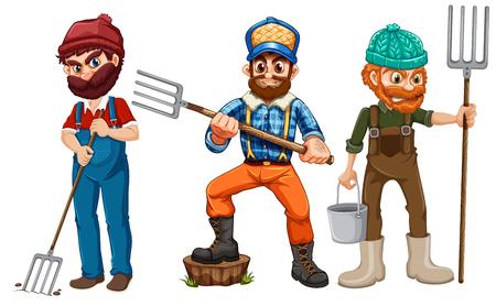 Set of farmer character illustration