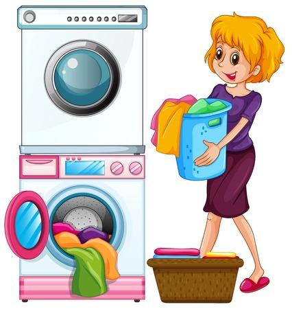 Woman doing laundry on white background illustration