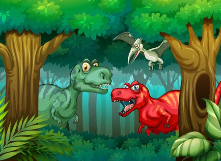 Dinosaur in the forest illustration