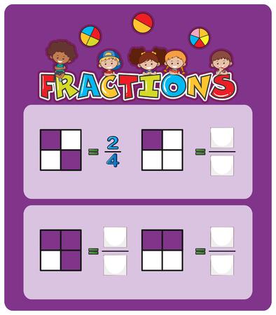 Una ilustración de hoja de cálculo de fracciones matemáticas Ilustración de vector