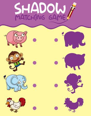 Animal shadow matching game template illustration Vetores