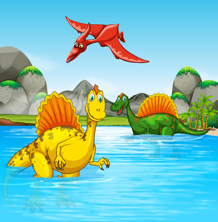 Prehistoric dinosaurs in a water scene illustration Ilustrace