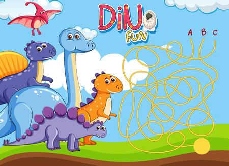 Dino maze puzzle game template illustration Illustration
