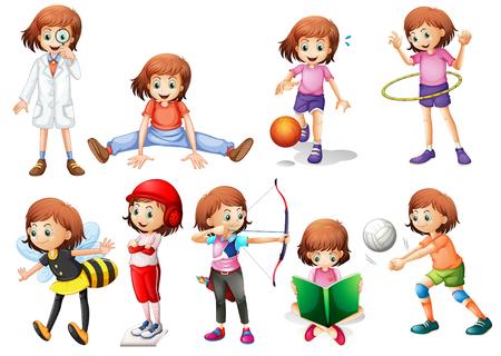 Zestaw ilustracji aktywności dziewczyny Ilustracje wektorowe