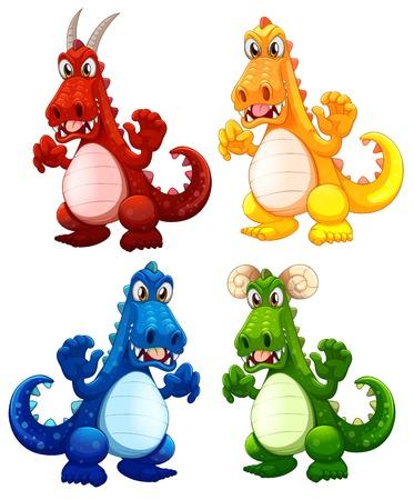 Set of different dragon illustration Vektoros illusztráció