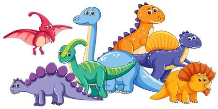 Gruppo di simpatici dinosauri illustrazione Vettoriali