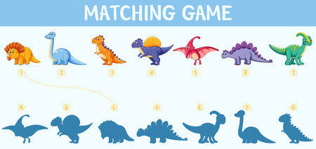 Dinosaur shadow matching game illustration  イラスト・ベクター素材