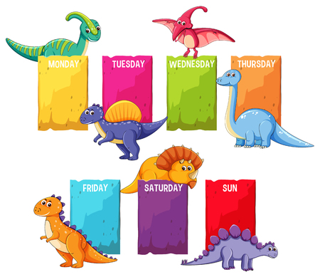 Dino on schedule template illustration