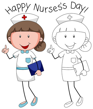 Doodle happy nurse character illustration Vettoriali