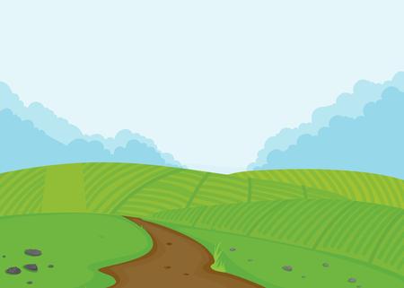 A farmland landscape background illustration Çizim