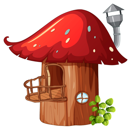 Enchanted mushroom wooden house illustration