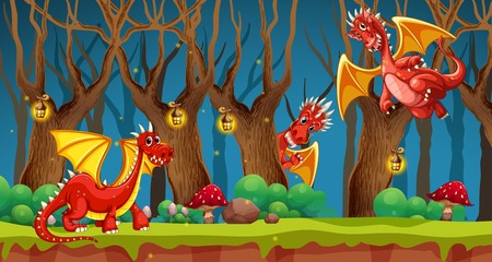 Red dragon in fairy tale forest illustration