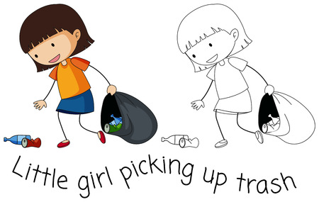 Doodle good girl pick up trash illustration  イラスト・ベクター素材