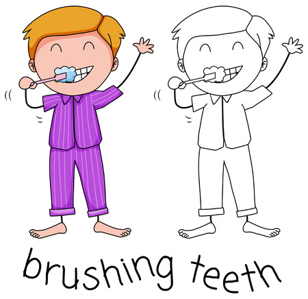Doodle boy brushing teeth illustration