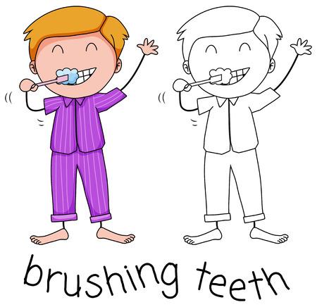Doodle boy brushing teeth illustration